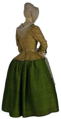 1740-1750 Shot silk lined with wool, quilted and hand-sewn  v T.306-1982