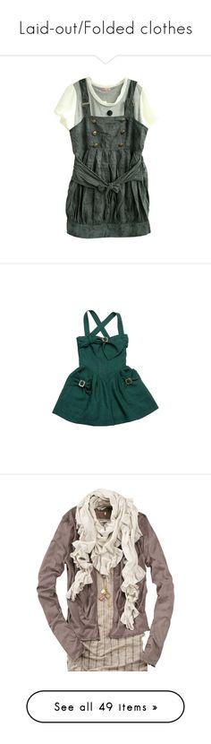 """Laid-out/Folded clothes"" by madisonjalaska ❤ liked on Polyvore featuring dresses, tops, shirts, vestidos, jumpsuits, rompers, green, doucette duvall, green romper and playsuit romper"