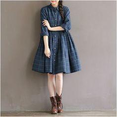 Buy Clover Dream Long-Sleeve Plaid Dress | YesStyle