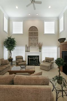 Traditional Living Room with stone fireplace, Carpet, Variegated Ivy Round Topiary in Basket, Ceiling fan, High ceiling
