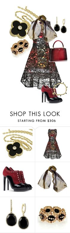 """Onyx Passion!"" by flippintickled ❤ liked on Polyvore featuring Van Cleef & Arpels, Peter Pilotto, Alexander McQueen, Burberry, Effy Jewelry, NOVICA, women's clothing, women, female and woman"