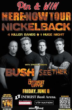 Want to win free Nickelback gear? Repin this, and complete the entry form at www.intrustbankarena.com to be entered to win. Tickets are still available for their concert Friday, June 8 at INTRUST Bank Arena.