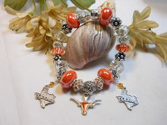 Bracelet University of Texas European Style by TheresACharm4That, $45.00