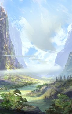 11 examples of wonderful concept art by Joe Watmough Fantasy Art Landscapes, Fantasy Landscape, Landscape Art, Beautiful Landscapes, Fantasy Places, Fantasy World, Georg Christoph Lichtenberg, Anime Plus, Bg Design