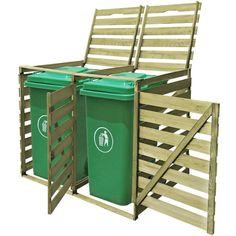 IN STOCK: best prices on Double Wheelie Bin Shed 240 L FSC Impregnated Wood - choose between 11 Dustbin screen Outdoor Storage Bin, Storage Bins, Diy Storage, Garbage Can Storage, Garbage Shed, Triple Bin Store, Bin Shed, Le Hangar, Covered Garden