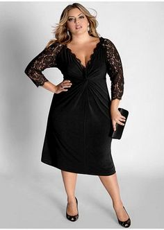 Plus Size Cocktail Dress with Sleeves, black dress with lace sleeves and pleated detail front.It is a simple yet very elegant style Plus Size Cocktail Dresses, Evening Dresses Plus Size, Plus Size Dresses To Wear To A Wedding, Evening Gowns, Evening Party, Nice Dresses, Dresses With Sleeves, Formal Dresses, Party Dresses