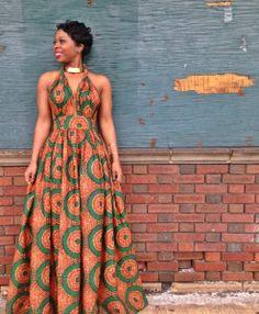 Green and orange ~African fashion, Ankara, kitenge, African women dresses, African prints, Braids, Nigerian wedding, Ghanaian fashion, African wedding ~DKK