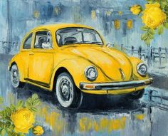 Vw Beetle Art Print by Luke Karcz. All prints are professionally printed, packaged, and shipped within 3 - 4 business days. Choose from multiple sizes and hundreds of frame and mat options. Car Drawings, Arte Pop, Car Painting, Yellow Painting, Art Cars, Painting Inspiration, Fine Art America, Watercolor Paintings, Pop Art