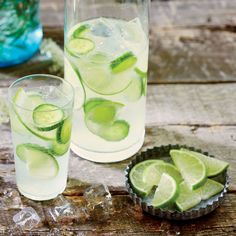 Cucumber-Lime Infused Gin and Tonic | When entertaining, keep an ice bucket, extra utensils, and plenty of napkins handy so guests can help themselves—and so you won't have to be in and out of the kitchen. | CookingLight