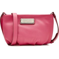 Marc by Marc Jacobs Percy Leather Shoulder Bag ($100) ❤ liked on Polyvore featuring bags, handbags, shoulder bags, pink, pink handbags, pink purse, marc by marc jacobs handbags, shoulder handbags and genuine leather purse