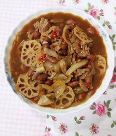 Pork Shoulder with Salted Fish, Lotus Root & Braised Peanuts Recipe