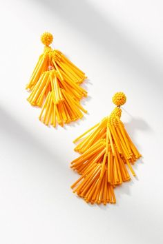 Jewelry Earrings Cha Cha Drop Earrings - Embellished with canary-yellow beads, this modern pair is reminiscent of the blazing sun - warm weather has arrived. Beaded Tassel Earrings, Pendant Earrings, Clip On Earrings, Tassel Earing, Black Diamond Studs, Trendy Fashion Jewelry, Fashion Earrings, Fashion Bracelets, Diamond Drop Earrings