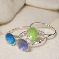 Lavender Enamel Ring Enamel Jewelry Silver Stacker Ring by lukelys