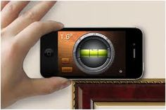 iHandy Level is a free app that can indicate whether a surface is level.  Sonar Ruler allows you to point your phone at an object and it will tell you the distance.