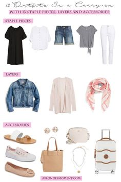 Outfits In a Carry-on How to Pack a Carry-on: 13 pieces and 12 outfits in a carry-on.How to Pack a Carry-on: 13 pieces and 12 outfits in a carry-on. Travel Wardrobe, Summer Wardrobe, Preppy Wardrobe, Vacation Outfits, Travelling Outfits, Travel Outfits, Traveling, Blonde Moments, Travel Capsule