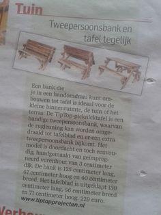 Opvouwbare Picknicktafel / bank 2in1 van www.tiptopprojecten.nl in het #algemeendagblad