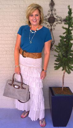 50 IS NOT OLD | HOW TO STYLE A DRESS SERIES, PART 3 | Skirt over a Dress | Ruffles | Tiers | Boho | Fashion over 40 for the everyday woman