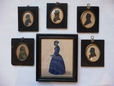 English School (19th century): Portrait Silhouette of a Lady, standing full length, wearing a blue dress and lace hat, holding a posy of flowers in her left hand, said to be Miss or Mrs Burley, inscribed with the sitter's name on a later label verso, black ink, gouache and grey wash highlighted with white, 19.5cm by 16.5cm; and Five Further Examples of Gentlemen, one inscribed William Benson July 21st 1822, one also black ink on paper, some highlighted with gold, Tennant's Auction