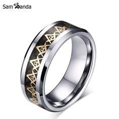 8mm Freemasons Ring Masonic Ring For Men Women Gold Silver Black 316L Stainless Steel Charms Freemasonry Fashion Jewelry MAA5012