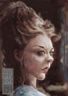 Caricatura de la actriz de cine y tv Natalie Dormer, interpretando a Margaery…