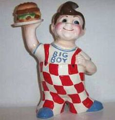 """""""Big Boy Cookie Jar""""  #2  [Another popular Big Boy, this time he's wearing a shirt and is a replica of the 1956 Big Boy. Available in 1997. 16 inches tall. Limited Edition of 250. Current Value: 250 - 300 DOLLARS.]~[Photo Courtesy of eBay Seller CJ500]"""