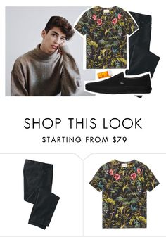 """- shoving pills in his mouth beside the hades cabin -"" by avagraceeeee ❤ liked on Polyvore featuring MANU, TravelSmith, Gucci, Vans, men's fashion and menswear"