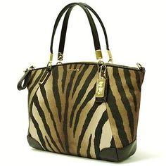 COACH Madison Zebra Print Small Kelsey Shoulder Handbag Brown Multi F28093 NWT!