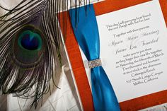 Fall theme wedding invitation made of dupioni silk and peacock blue satin ribbon.  Make this yourself in your wedding theme colors   Join us in a workshop to demonstrate how to make your own wedding invitation http://www.uniquelyyoursweddinginvitation.com/creativity-workshops/