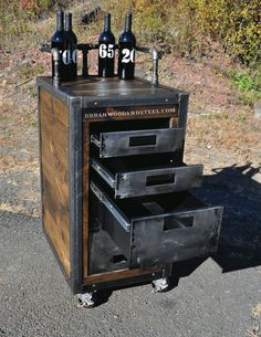 Make your drinking experience mobile with the Crestway Boozer Bar Cart. Three drawers and a lower hatch help hide your shot glasses, little umbrellas, cocktail napkins, and of course the good stuff not intended for Uncle Earl. Heavy duty locking casters, reclaimed pine, steel drawers, iron pipe and a complete disregard for a sober status. Get this rugged industrial / steampunk unit to cart booze around at your next gathering. DIMENSIONS: 18w x 23d x 42 h Drawers: 3, 3, 6 h Bottom…