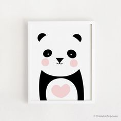 Poster bebe INSTANT DOWNLOAD Cute Panda graphic printable art Heart Panda Bear animal illustration Kawaii baby room art print nursery art