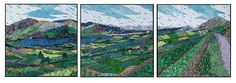 Beara Landscape, Triptych | Rhonda Heisler Mosaic Art  2007 each panel 32 h x 32 w;  handcut opaque stained glass on Trupan® substrate, framed. Commissioned for elevator lobby of George F. Lynn Harmony Pavilion of AtlantiCare Regional Medical Center, Atlantic City, New Jersey. To see some images showing how this mosaic was created, go to The Artist / Process. Photography by Ross Stout.