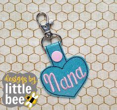 Nana heart grandma mom Mother's Day love fob snap tab keychain applique embroidery digital file design