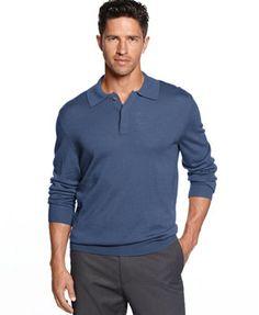Club Room Big and Tall Merino-Blend Polo Sweater