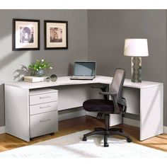 Unique Furniture 100 Series L-Shaped Desk with Mobile Pedestal - 100COMBO7-WH