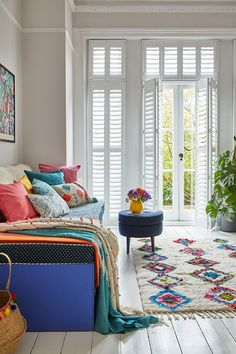 Transforrm a guest bedroom into a multi-purpose crafting studio. Made-to-measure shutters are ideal for multi-purpose spaces like this Wooden Shutter Blinds, Wooden Shutters, Interior Window Shutters, Bedroom Windows, Vivid Colors, Colours, Happy House, Home Furniture, House Design