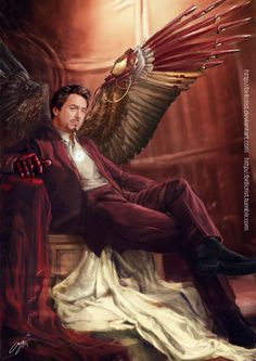 Avenging angel: Tony by =brilcrist on deviantART    makes you wonder if he's a real, honest to god, angel or if he just built wings ;)