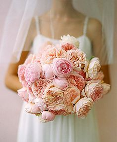 Gorgeous wedding bouquet!  Garden Roses (much better fragrance than peonies)