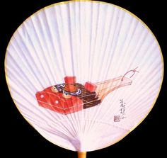 Japanese Paper Paddle Fan Lion Temple Hand Fan by VintageFromJapan, $15.00