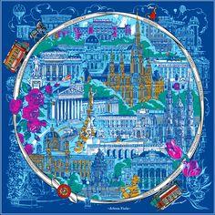 """Silk scarf """"Vienna's Grand Boulevard"""" (Ringstraße) designed by Jelena Fiala. www.jelenafiala.com"""