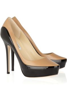 Sepia two-tone leather pumps