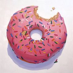 """""""Homer's Pink Donut"""" - Oil Painting by Terry Romero Paul Food Illustrations, Illustration Art, The Chocolate Touch, Candy Art, Easy Watercolor, Food Drawing, Realistic Drawings, Chalk Art, Art Festival"""