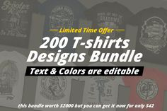If you're looking for something new in vector graphics or some cool illustrations for your new project we have a unique vector illustrations bundle for you :) With 200 vector designs or illustrations you can create unique t-shirt designs, hoodies, hat, pin, posters, invitations,logo or anything.