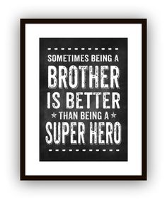 Big Brother Super Hero Wall Art, Wall Decor,Typography Art Print Poster, Chalkboard Style on Etsy, $16.00
