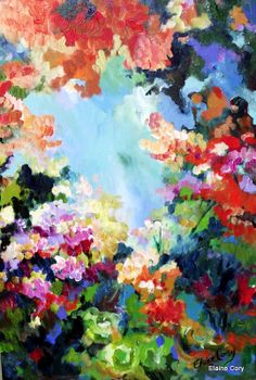 Abstract Large  Landscape Painting   24 x 36  Original Art by Elaine Cory