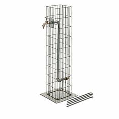 Steel wire gabions (Ø bars max. 4 mm) with zinc-aluminum coating; the base plate and water pipe are made of hot-dip galvanised steel; one brass spigot. Height cm, gabions 19 x. - Gabion Water Tap Column at Manufactum Gabion Fence, Gabion Wall, Fence Design, Wall Design, Garden Design, Water Tap, Water Pipes, Gabion Baskets, Tent Pegs