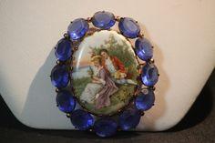Vintage Porcelain & Glass Stone Brooch. Starting at $30 on Tophatter.com!
