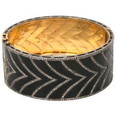 Black Enamel and Diamond Cuff Bracelet