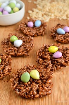 Chocolate Rice Krispie Easter Egg Nests that the whole family can enjoy. Lower in syns but still delicious. A perfect Easter treat.