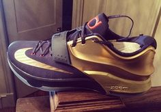 The Nike KD 7 Premium in the midnight navy/metallic gold-bright crimson will release on November 22nd. This marks the first-ever Premium level release of the KD 7 sneaker, a shoe that we first saw directly from Kevin Durant's Instagram feed. This USA-inspired colorway, which was thought to be a USA PE for the FIBA games, [&hellip