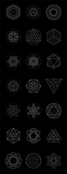 Tattoos tatuaje Sacred Geometry: 40 Items by kloroform on Creative Market Geometric Designs, Geometric Shapes, Hanya Tattoo, Zentangle, Sacred Geometry Art, Geometry Pattern, Web Design, Graphic Design, Flower Of Life
